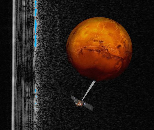Artist impression of the Mars Express spacecraft probing the southern hemisphere of Mars, superimposed on a radar cross section of the southern polar layered deposits.