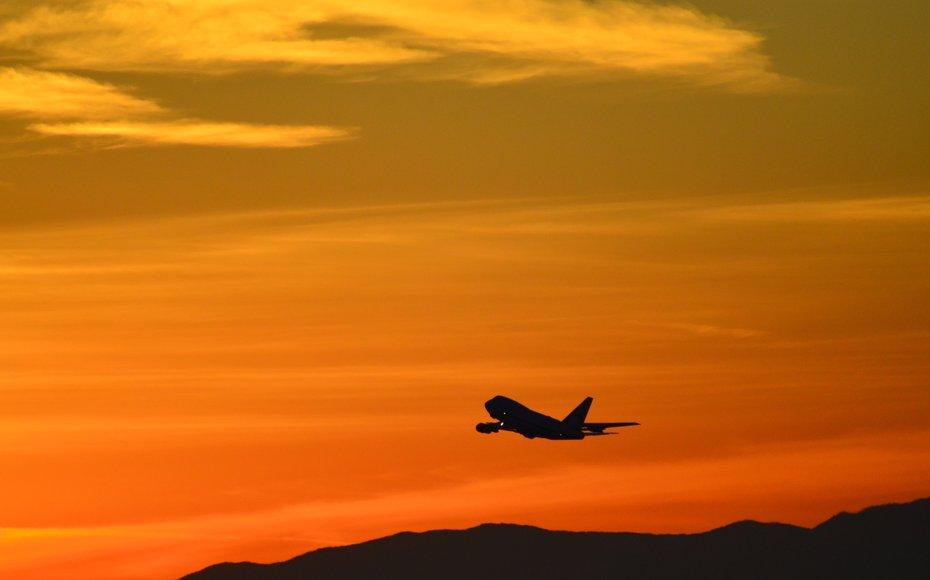 NASA's Stratospheric Observatory for Infrared Astronomy (SOFIA) takes off from home base in Palmdale, California at sunset on May 29, 2015.