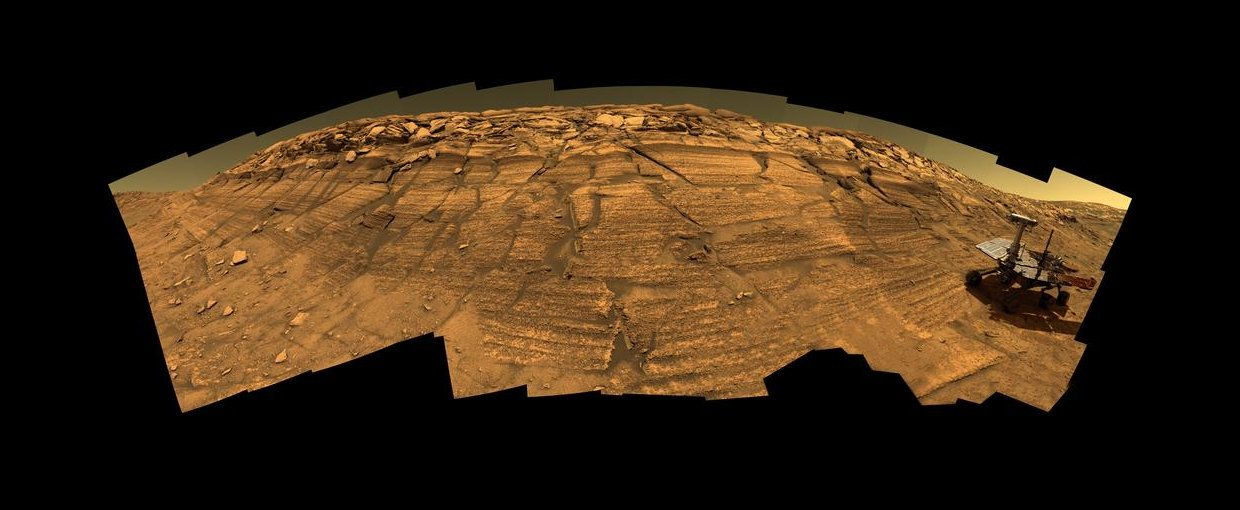 Opportunity on 'Burns Cliff' (Simulated). Image Credit: NASA/JPL-Caltech/Cornell.