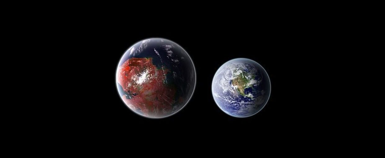A rendering of the exoplanet Kepler 442 b, compared in size to  Earth.