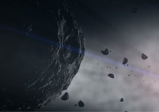 This artist's illustration of Bennu and other asteroids represent building blocks of our solar system's rocky planets.