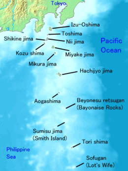 The volcanic Izu island chain, starting in Tokyo Bay and going out into the Philippine Sea.