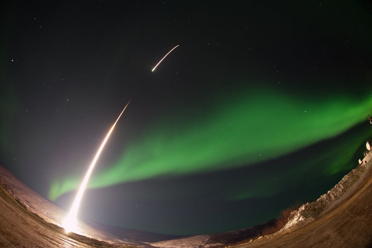 AZURE is the first of eight sounding rocket missions that will study the flow of particles in the ionosphere. Here, a NASA-funded sounding rocket launched straight into an aurora over Venetie, Alaska, in 2014.
