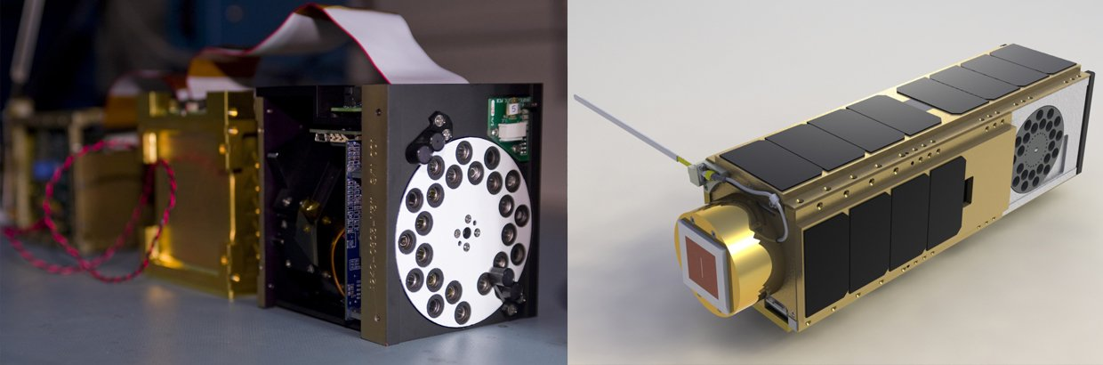 The O/OREOS payloads and bus undergo functional tests before integration with the satellite frame (left). A computer-generated image of the O/OREOS nanosatellite (right). Image credit: NASA /Dominic Hart (left); NASA Ames (right)