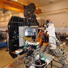 This image shows NASA's Deep Impact spacecraft being built at Ball Aerospace & Technologies Corporation, Boulder, Colo.