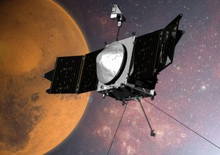 Artist's concept of the Mars Reconnaissance Orbiter in orbit around the Red Planet.