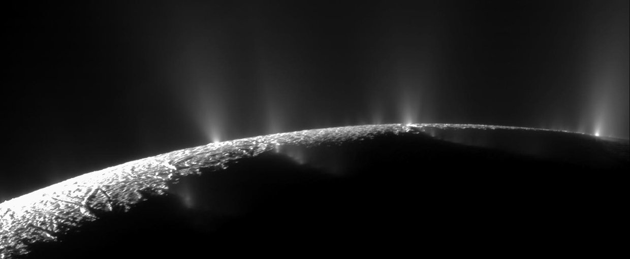 A dramatic plume sprays water ice and vapor from the south polar region of Saturn's moon Enceladus. Cassini's first hint of this plume came during the spacecraft's first close flyby of the icy moon on February 17, 2005.