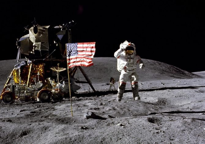 Astronaut John Young of the Apollo 16 mission on the moon. The primary goal of the NASA moon initiative is to return astronauts to the surface.