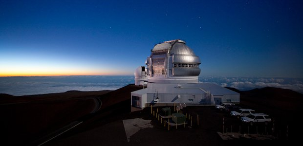 The Gemini North site at twilight on Mauna Kea.