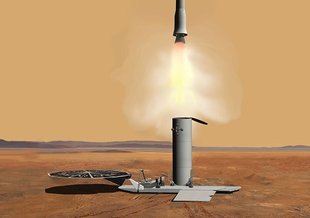 This artist's concept of a proposed Mars sample return mission portrays the launch of an ascent vehicle.