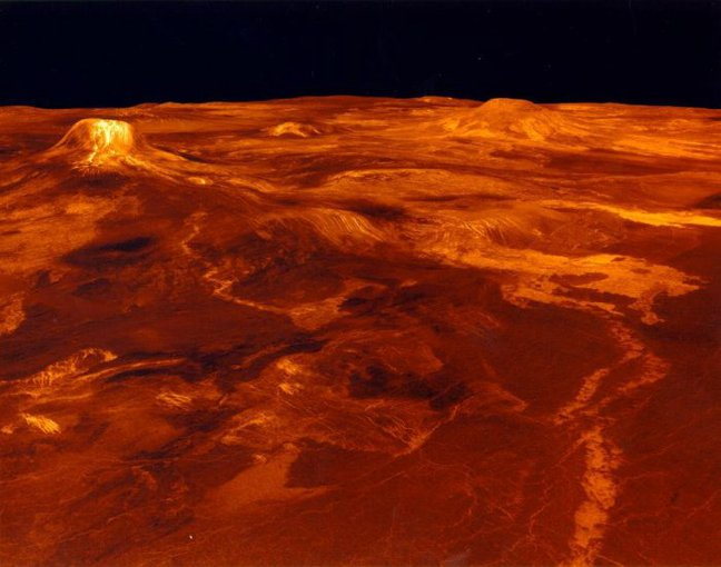A portion of western Eistla Regio is displayed in this three-dimensional perspective view of the surface of Venus. Synthetic aperture radar data from the spacecraft Magellan is combined with radar altimetry to develop a 3D map of the surface.
