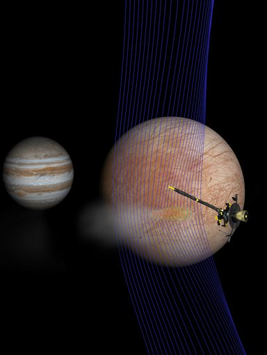 A computer simulation gives an idea of how Europa's magnetic field interacted with an erupting plume. Magnetic field lines (blue) show how the plume interacts with the ambient flow of Jovian plasma. Red colors on the lines show more dense areas of plasma.