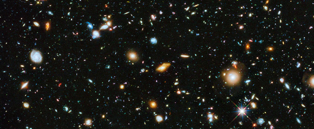 The Ultra-Deep field composite, which contains approximately 10,000 galaxies.  The images were collected over a nine-year period.
