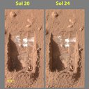 "Color images acquired by NASA's Phoenix Mars Lander's Surface Stereo Imager on the 21st and 25th days of the mission, or Sols 20 and 24 (June 15 and 19, 2008). Images show sublimation of ice in the trench called ""Dodo-Goldilocks"" over four days."
