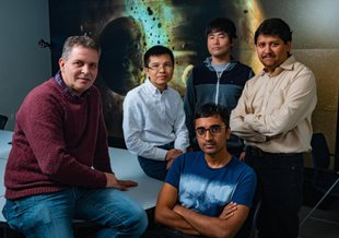 The team (from left) G. Costin, C. Sun, D. Grewal (sitting), K. Tsuno, and R. Dasgupta found Earth most likely received the bulk of its carbon, nitrogen, and other life-essential elements from the collision that created the Moon more than 4.4 bya.