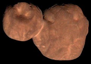 This composite image of the primordial contact binary Kuiper Belt Object 2014 MU69 (officially named Arrokoth in November 2019) was compiled from data obtained by NASA's New Horizons spacecraft as it flew by the object on Jan. 1, 2019.
