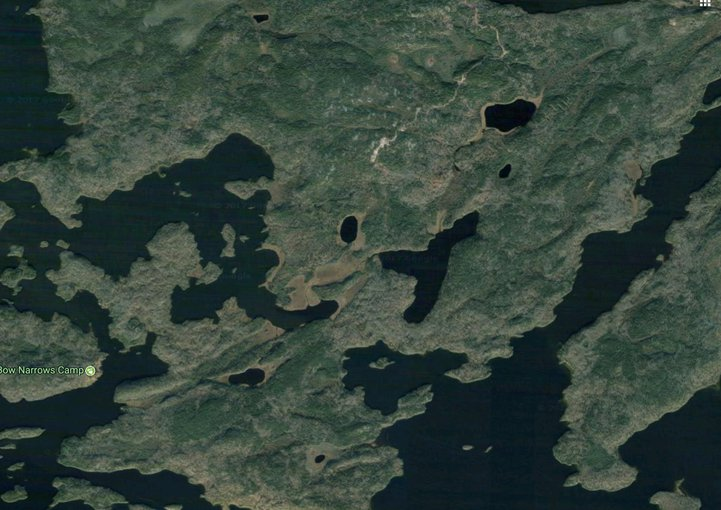 Satellite view of the Red Lakes region in Ontario, Canada with four of the sampling areas from the UW-Madison study of Sr isotope compositions of Archaen carbonates. Image source: Google Maps
