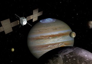 The European Space Agency (ESA) Jupiter Icy Moons Explorer (JUICE) spacecraft explores the Jovian system in this illustration.