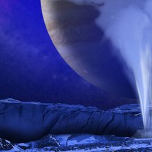This is an artist's illustration of a plume of water vapor being ejected off the frigid, icy surface of the Jovian moon Europa.