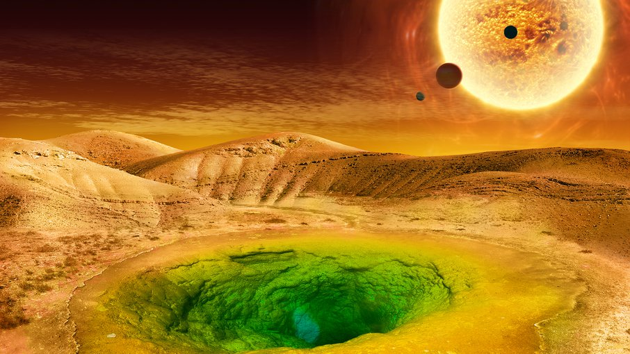 Artist's conception of what life could look like on the surface of a distant planet.