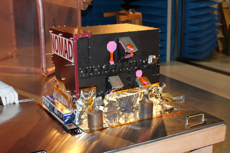 The NOMAD instrument, which is on board the European Space Agency's ExoMars Trace Gas Orbiter and will search for specific gases in the Martian atmosphere, such as methane, which be produced by life.