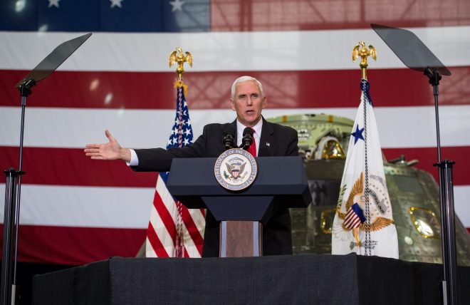 Vice President Mike Pence addresses NASA employees, Thursday, July 6, 2017, at the Vehicle Assembly Building at NASA's Kennedy Space Center (KSC) in Cape Canaveral, Florida. The Vice President spoke following a tour that highlighted the public-private partnerships at KSC, as both NASA and commercial companies prepare to launch American astronauts in the years ahead.  Pence spoke at length about human space exploration, but very little about NASA space science. (NASA/Aubrey Gemignani)