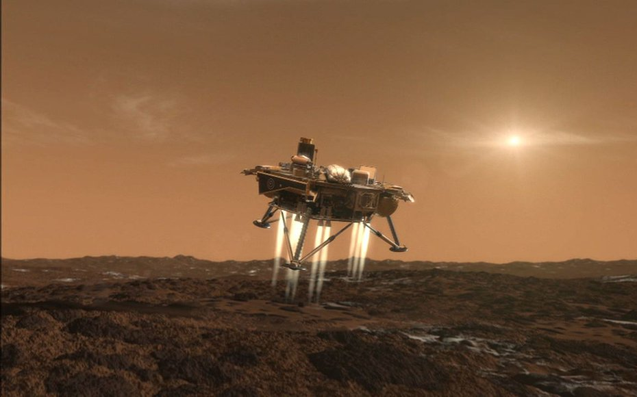 This artist's conception depicts NASA's Phoenix Mars Lander a moment before its touchdown on the arctic plains of Mars.
