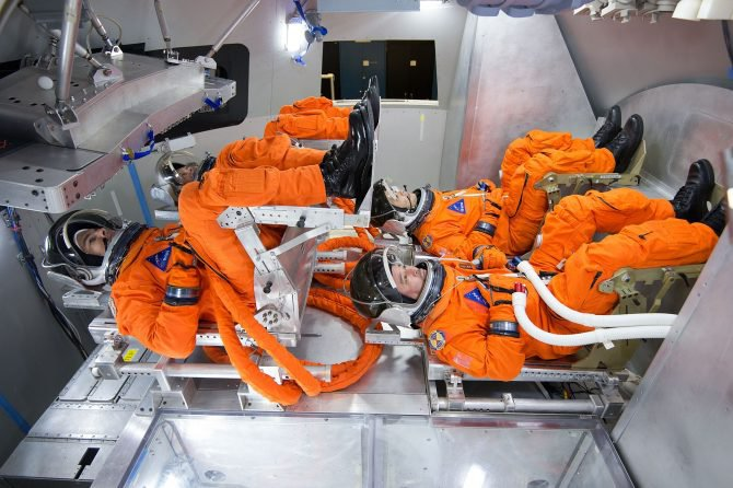 Another mock-up of the inside of the Orion crew module, which carries four astronauts and is scheduled to launch in 2023. It has 316 cubic feet of habitable space, compared with 210 cubic feet for the Apollo capsules.