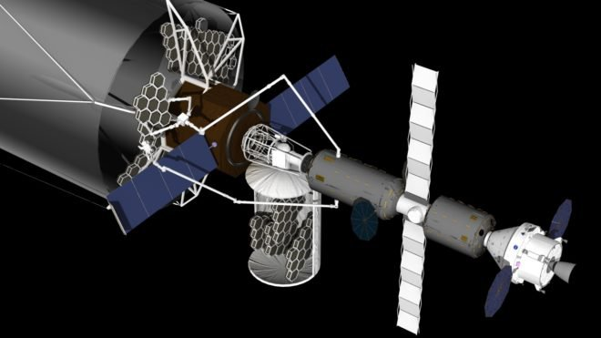 A visualization of the assembly in space of a large segmented telescope, with work being done by astronauts and robots.  The honeycomb blocks are parts of the mirror, and the grey cylinders on the right are habitats for astronauts.  (NASA)