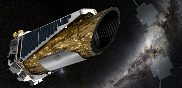 This artistic impression shows NASA's planet-hunting Kepler spacecraft operating in a new mission profile called K2. In May the spacecraft began its new mission observing in the ecliptic plane, the orbital path of Earth around the sun, depicted by the gre
