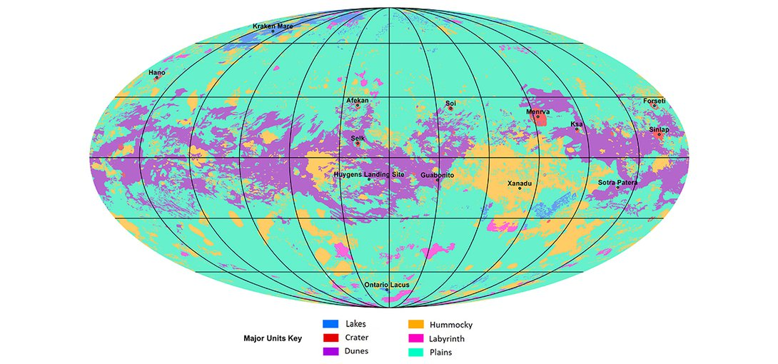 The first global geologic map of Saturn's largest moon, Titan, is based on radar and visible and infrared images from NASA's Cassini mission, which orbited Saturn from 2004 to 2017.