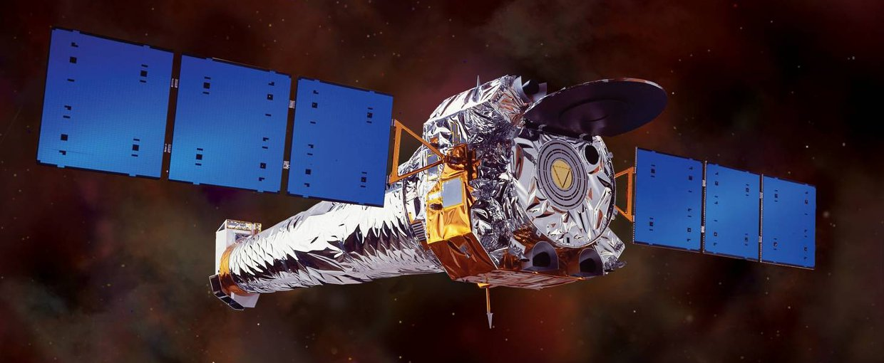 Artist impression of the Chandra Telescope is in orbit around Earth.