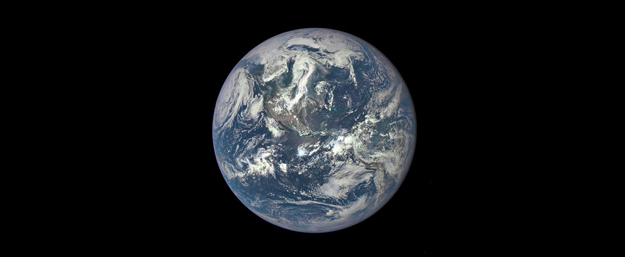 Earth as seen on July 6, 2015 from a distance of one million miles by a NASA scientific camera aboard the Deep Space Climate Observatory spacecraft.