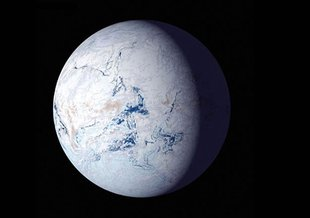 An artist's impression of a 'snowball Earth'.