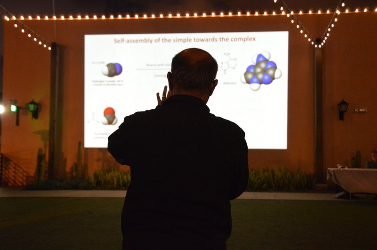 Ramanarayanan Krishnamurthy speaking to an audience at the Stated Clearly Animation Screening: San Diego Festival of Science & Engineering.