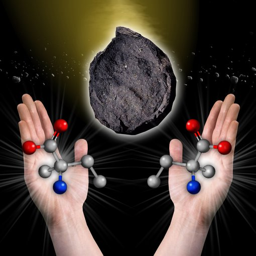 Artist's impression of amino acids (the building blocks of peptides) and an asteroid, symbolizing an alternative method by which amino acids could have arrived on Earth.