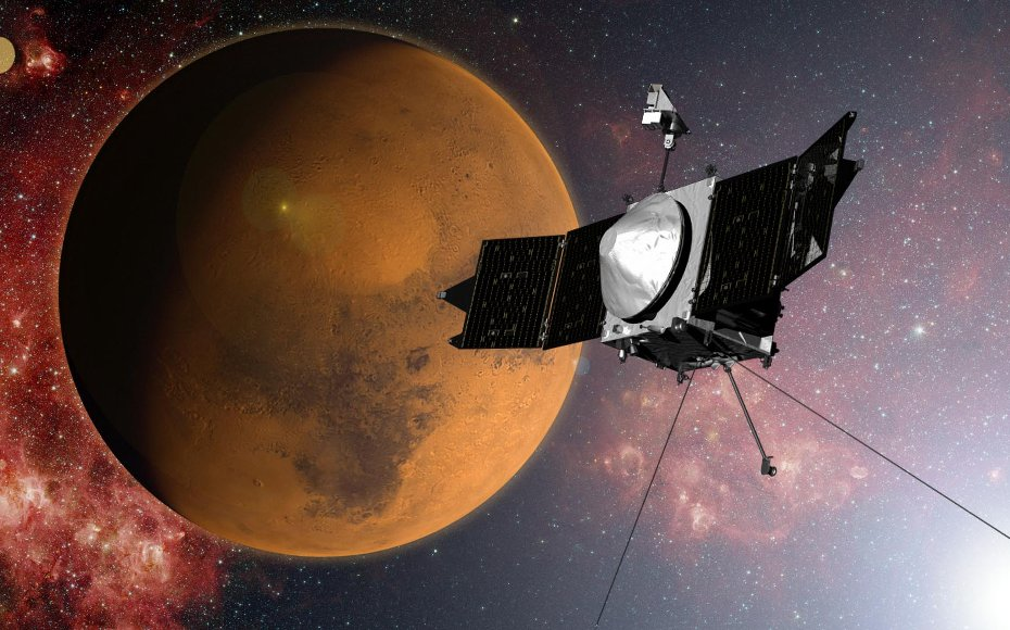 Artist impression of MAVEN's arrival at Mars.