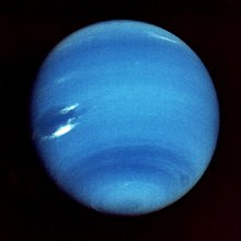 Voyager 2 contrast-enhanced image of Neptune. This image was taken on 14 August 1989, 11 days before closest approach.