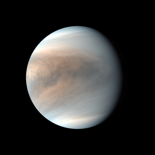 The thick atmosphere of Venus can be seen in this image captured by the Akatsuki orbiter. This is a synthesized false color image of Venus using 283-nm and 365-nm images.