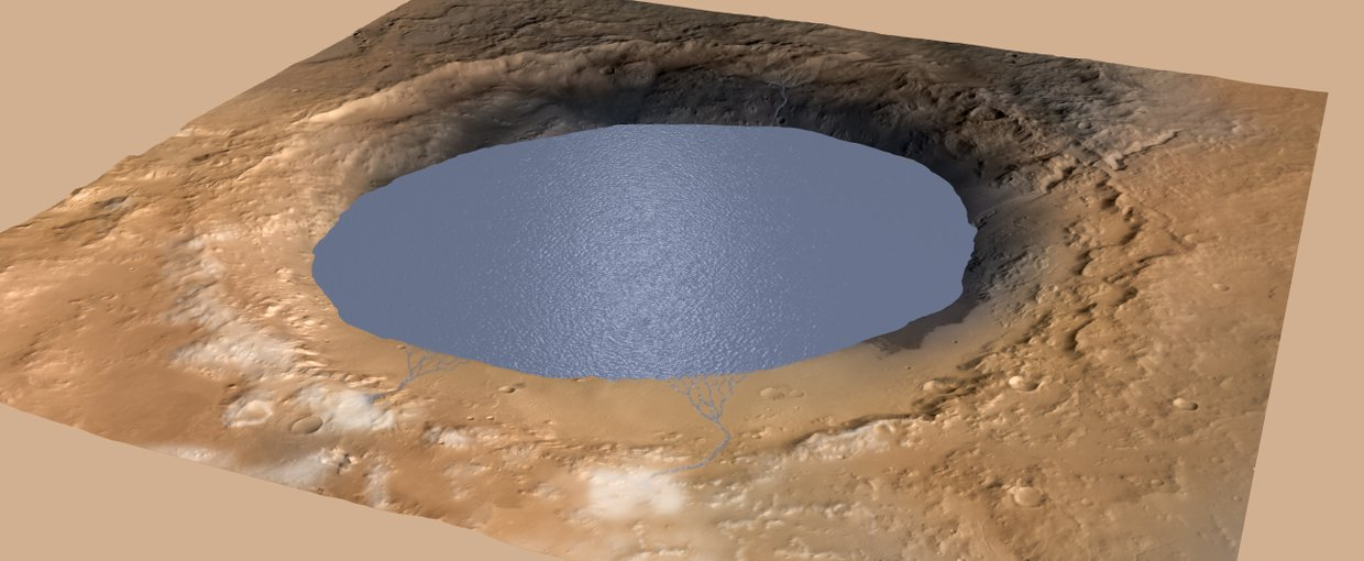 This illustration depicts a lake of water partially filling Mars' Gale Crater.