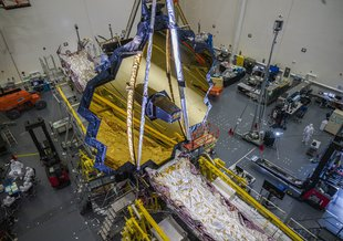NASA's James Webb Space Telescope in the clean room at Northrop Grumman, Redondo Beach, California, in July 2020.