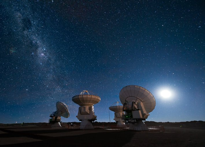 Four antennas of the Atacama Large Millimeter/submillimeter Array (ALMA) gaze up at the stars and the band of the Milky Way.  Astronomers can use such telescopes to study star formation, as well as the origins of galaxies and planets. Credit: ESO/José Francisco Salgado