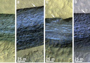 Enchanced-color traverse section of martian icy scarps in late spring to early summer. Arrows indicate locations where relatively blue material is particularly close to the surface. Image taken by HiRISE camera on Mars Reconnaissance Orbiter.