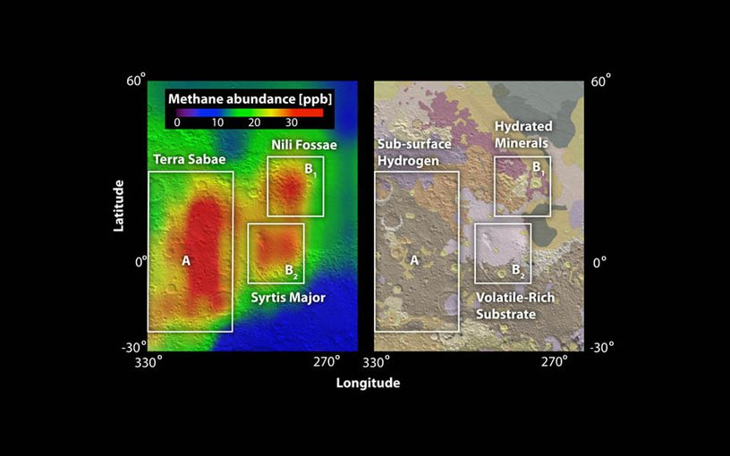 Red areas indicate where in 2003 ground-based observers detected concentrations of methane in the Martian atmosphere, measured in parts per billion (ppb)