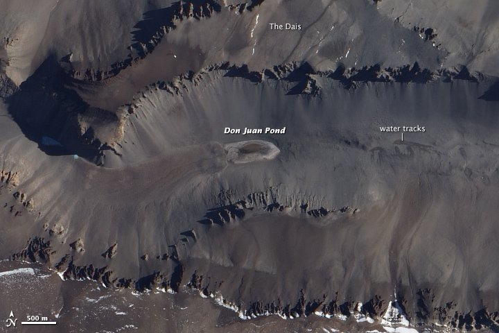 Don Juan Pond is an ankle-deep pond in the lowest part of Upper Wright Valley of Antarctica, and is so salty that its calcium-chloride rich waters rarely freeze. (Image by the Advanced Land Imager (ALI) on NASA's Earth Observing-1 (EO-1) satellite).