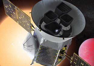 Illustration of the Transiting Exoplanet Survey Satellite (TESS) in front of a lava planet orbiting its host star. TESS will identify thousands of potential new planets for further study and observation.
