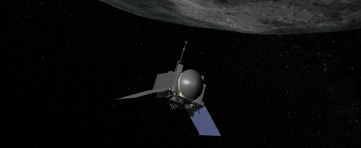 Artist's concept of NASA's OSIRIS-REx spacecraft preparing to take a sample from asteroid Bennu.