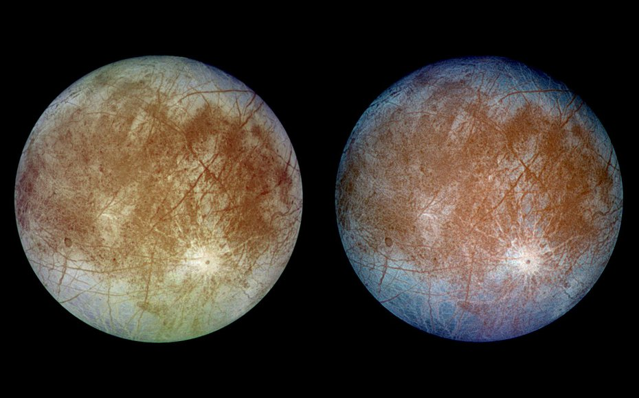 Two views of the trailing hemisphere of Jupiter's ice-covered satellite, Europa. The left image shows the approximate natural color appearance. The right is a false-color composite version combining violet, green and infrared images.