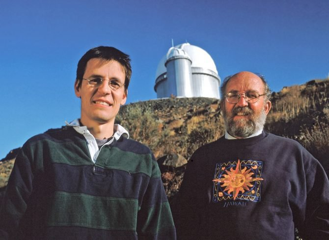 Planet hunters Didier Queloz and Michel Mayor at the European Southern Observatory's La Silla site.