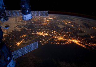 Crew members aboard the International Space Station took this nighttime photograph of much of the Atlantic coast of the United States.